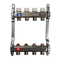 """Коллекторная группа для отопления STOUT SMS0922 - 1"""" на 4 контура 3/4""""EK (нерж.сталь)"""
