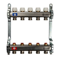 """Коллекторная группа для отопления STOUT SMS0922 - 1"""" на 5 контуров 3/4""""EK (нерж.сталь)"""
