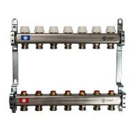 """Коллекторная группа для отопления STOUT SMS0922 - 1"""" на 7 контуров 3/4""""EK (нерж.сталь)"""