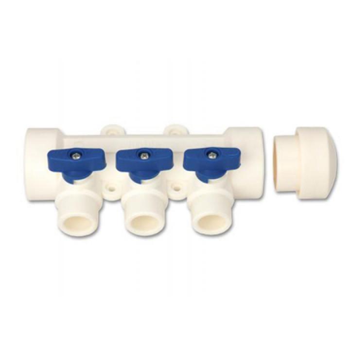 Коллектор запорный проходной KALDE - 40 на 2 контура 20 (цвет ручек синий)