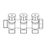 """Коллектор запорный проходной ELSEN - 1""""(НР/ВР) на 3 контура 3/4""""EK"""